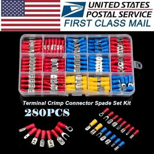 280Pcs Assorted Insulated 10-12GA 14-16AWG 18-22Gauge Wire Connectors Terminals