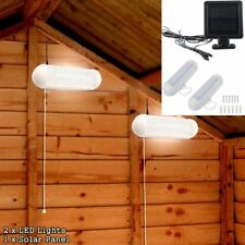 2 Solar Power LED Shed Lights Wall Indoor Corridor Garden Yard Garage Pull Lamps
