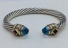 David Yurman Sterling 14k Gold Blue Topaz Pink Tourmaline Renaissance Bracelet