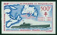 St. Pierre & Miquelon #C25 MNH Imperf EUR200.00 Submarine Christmas