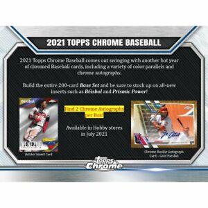 2021 Topps Chrome Baseball Hobby Box PreOrder 08/11