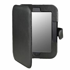 Black Premium Folio Leather Case Cover Pouch for Barnes Noble Nook Simple Touch