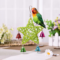 EG_ Vine Rattan Star Bell Swing Bird Parrot Budgie Parakeet Bite Chew Toy Cage D