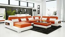 Modern Large LEATHER SOFA Corner Suite New Orange & White