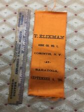 Vintage 1896 Corinth New York Fire Department Ribbon From Saratoga
