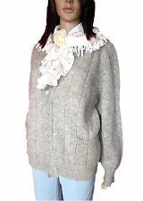 Vtg Customized Knitted Grey Shetland Wool Fair Isle Nordic Cardigan sz 22 AL87