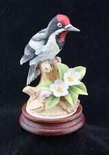 Andrea by Sadek Porcelain Figurine Downy Woodpecker 9386 Japan W/ Wooden Base