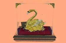 White Swan Solid Bronze Decorative Garden Handcrafted European 24K Gold Plated