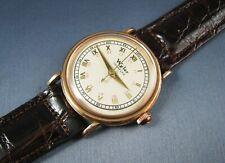 Vintage Wyler Solid 14K Rose Gold 24Hr Dial Mens Watch Hand Wind 17J WW2 1940s