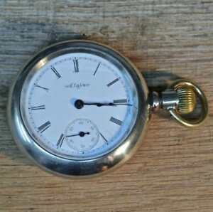 1900 Elgin Open Face Pocket Watch, Size 18s, 15 Jewel, Silverode Case With Train