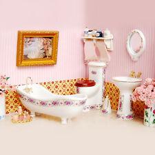 5Pcs/Set Dollhouse Miniature Ceramic Bathroom Supplies Suites 1:12 Scale Model