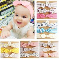 Newborn Baby Girl Infant Kid Headdress Elastic Wave Headband Bowknot Hairband CP