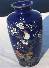 Beautiful Vintage Japanese Cloisonne Vase 7-1/4in. Birds On Cherry Blossom Meiji
