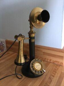 Working GEC ENGLAND vintage 1930/40's Style Candlestick Telephone Modern Plug