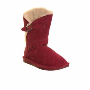BEARPAW NEW Women's Annie Suede Sheepskin Booties Boots Shoes TEDO