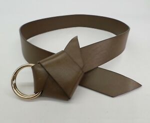 Banana Republic Leather Belt M L 28 30 32 Bow Green Gold Tone Ring Buckle