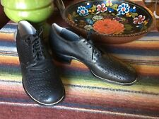 Vintage Deadstock 1930's Black Perforated Leather Oxford Shoes 6.5 - 7