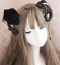 Steampunk Devil's Horn Headwear Hairclip Gothic Accessories Bow Claw Rose Chain