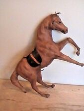 "ANTIQUE VINTAGE 14""  LEATHER HORSE SCULPTURE FIGURE FIGURINE STATUE glass eyes"