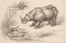 Thomas Nast. Blaine As Rhinoceros. Belmont As Badger. Harper's 1882