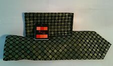 Tie and  Matching Handkerchief Set  Circle Olive Green Black White