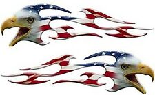 "Motorcycle Tank Eagle Head Flame Decals American Flag 18"" Reflective Fl10"