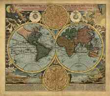 1716 Antique World Map Reproduction Rolled CANVAS PRINT 28x24 in.