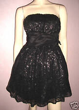 WOEMENS BLACK SPARKLING SEQUIN SHORT LENGTH EVENING PROM PARTY DRESS size 8