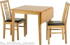 Vienna Drop Leaf Dining Set In Medium Oak With 2 Chairs In Brown Faux Leather
