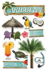 PAPER HOUSE CARIBBEAN BEACH VACATION TRAVEL DIMENSIONAL 3D SCRAPBOOK STICKERS