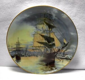 """FRANKLIN Mint GREAT CLIPPER SHIPS Collector Display Plate - FLYING CLOUD - 9"""""""