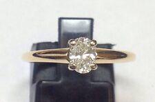 SOLITARE .40 CARAT OVAL DIAMOND ENGAGEMENT 14K YELLOW GOLD RING Sz 6.75