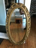 Antique Gilded Gold Wood Carved Baroque Hollywood Regency Tall Hanging Mirror