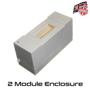 2 Module Enclosure - Insulated Plastic Din Rail MCB RCD Box Housing IP20  *UK*