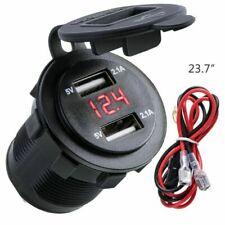 12V Car Cigarette Lighter Socket Dual USB Charger Splitter Adapter LED Voltmeter