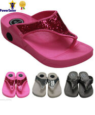 Ladies Wedge Heel Comfort Walking Flip Flops Fitness Fit Toning Sandals Shoes