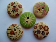 15 x 1.75cm Painted Wooden Buttons - 2 Holes