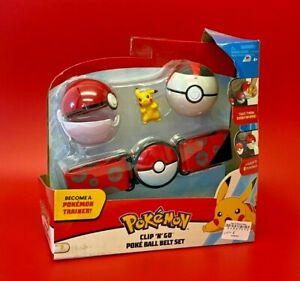 Pokemon Clip 'n' Go Poke Ball Belt Set with 2 Poke Balls and Pikachu Figure -LOU
