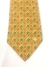 * Dunhill * Mens Tie Gold 100% Silk Diamond Geometric Pattern Made in Italy