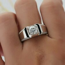 1 Ct Round Moissanite Sim Diamond Designer Band Ring Over 14k White Gold Finish