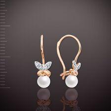 Rose Rotgold 585  Schmetterling Kinder-Ohrringe mit Perlen und CZ Kids earrings!