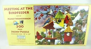 SunsOut Puzzle-Meeting at the Bird Feeder 300 Piece Jigsaw Puzzle Cardinal NEW