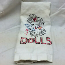 """Vintage Embroidered Towel With Poodle Dog and """"Dolls"""""""