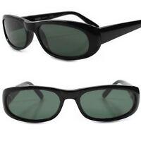 Deadstock True Vintage 80s Urban Hip Green Lens Black Frame Rectangle Sunglasses