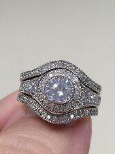 Victoria Wieck 10KT.white gold filled 6mm topaz diamond sim Ring Size 7