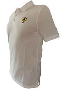 Ferrari Herren T- Polo shirt Weiss Formel 1 3D Logo Gr. XS S M L XL XXL