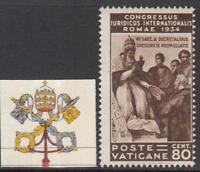 VATICANO 1935 Congresso Giuridico 80 cent. Sassone n.45 cv 120$ MH*