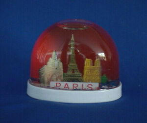 Vintage Paris Snowdome Souvenir-Snow Globe-Eiffel Tower, Notra-Dame,Sacre-Coeur