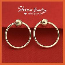 S925 Sterling Silver ROSE GOLD GF NOSE EAR CARTILAGE RING HOOP SLEEPER EARRINGS