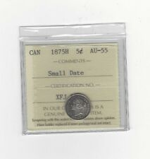 **1875H SD** ICCS Graded Canadian,  5 Cent, **AU-55**